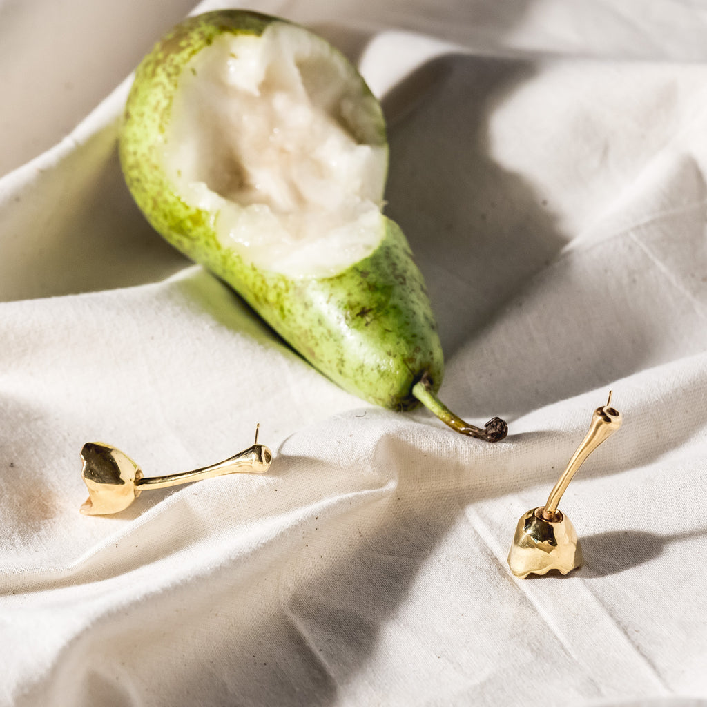 Pear Top Earrings, 22kt Gold Vermeil
