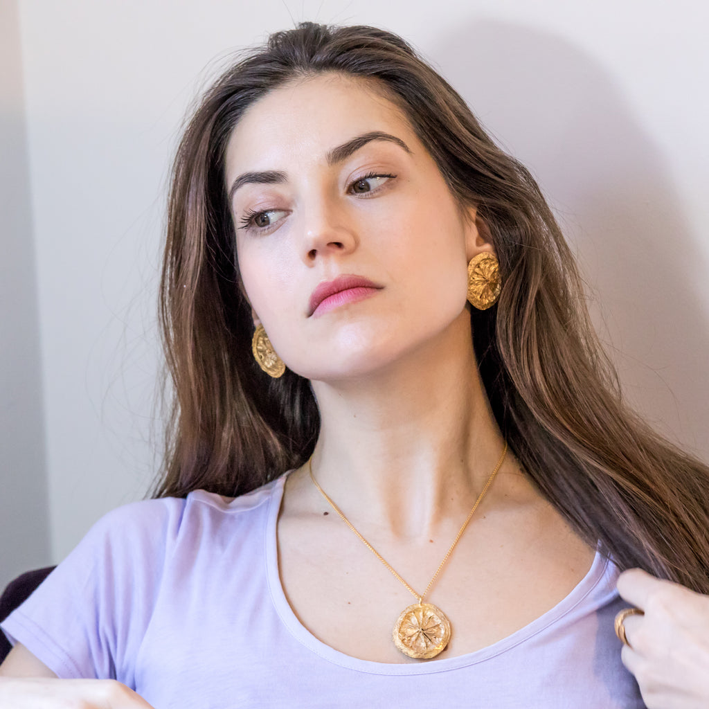 Quirky lemon slice pendant and earrings, 18ct Fairtrade yellow gold