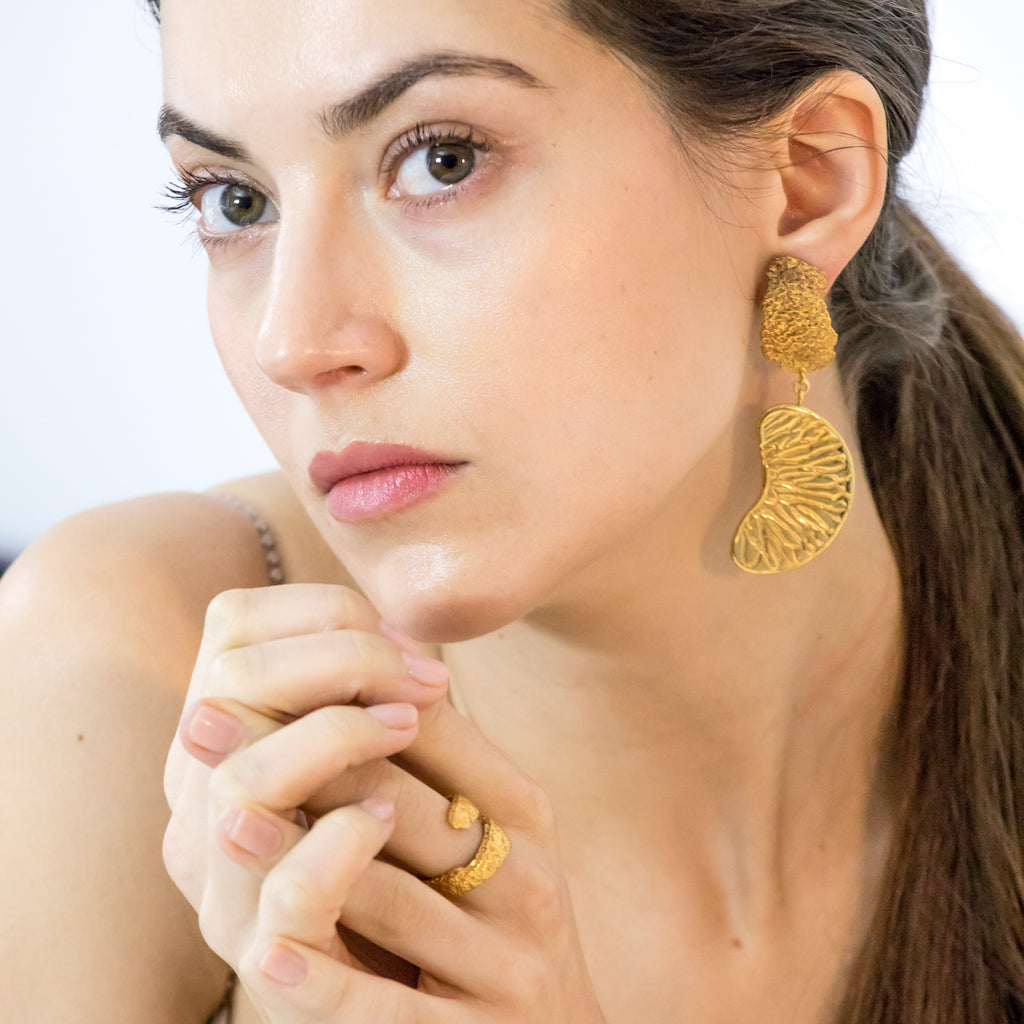 Ethically made large statement 18ct Fairtrade gold earrings