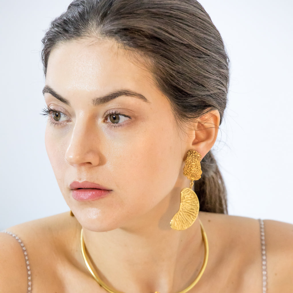 Handcarved 18ct Fairtrade gold large statement earrings