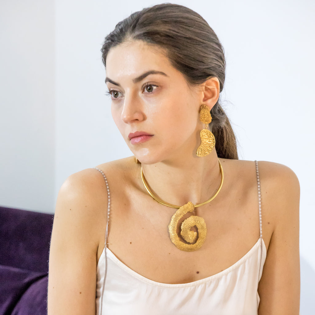 The Spiral Orange Peel Choker, 22kt Gold Vermeil