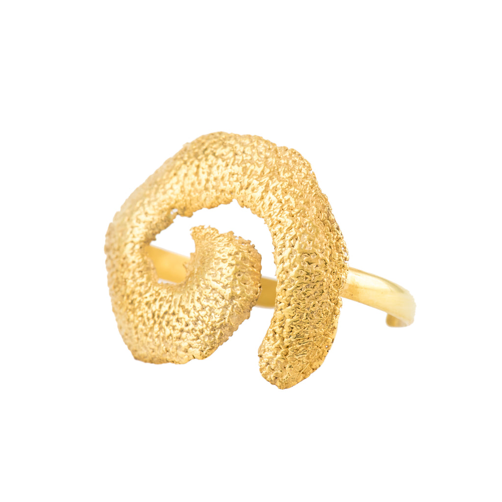 Spiral Orange Peel Bangle, 22kt Gold Vermeil