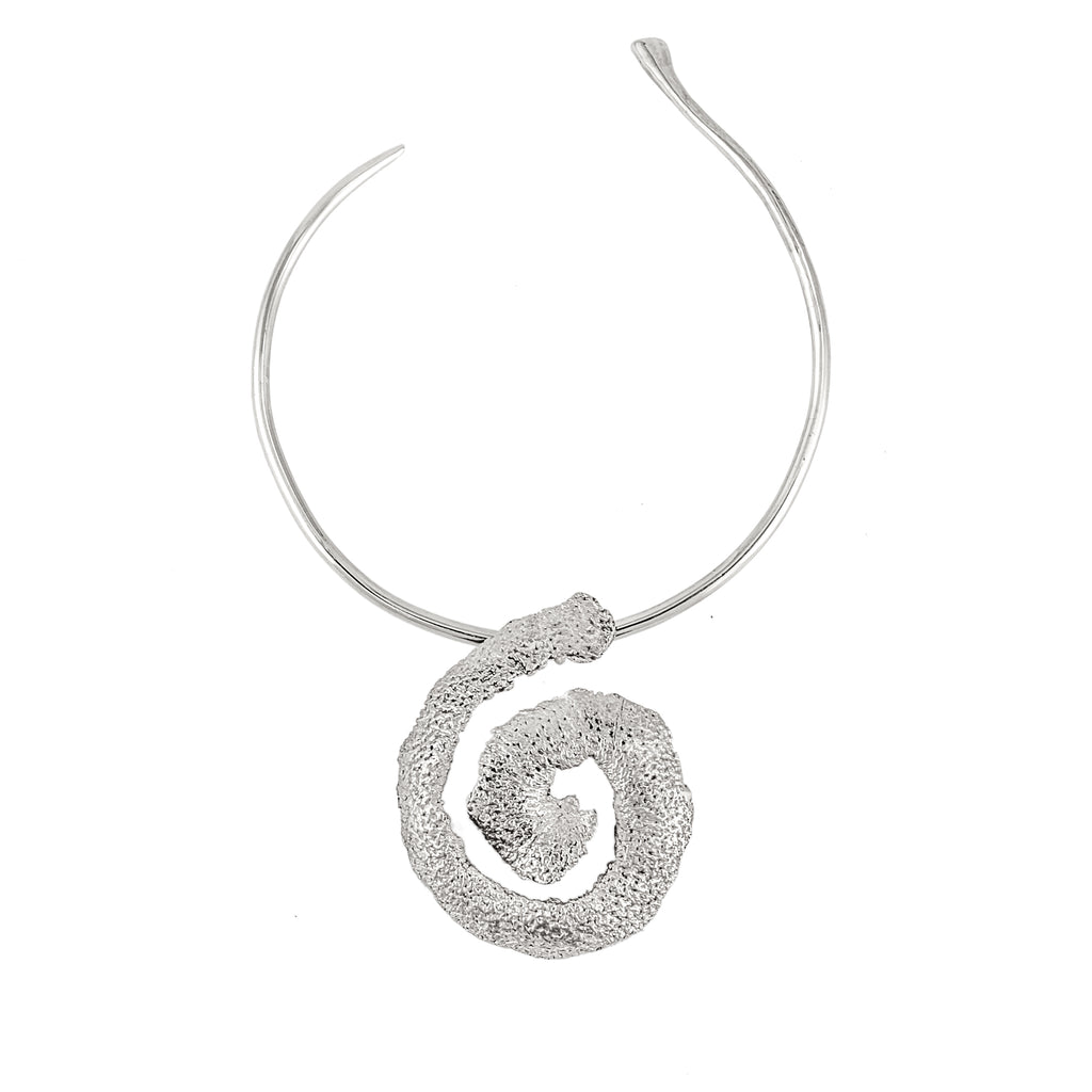 The Spiral Orange Peel Choker (Sterling Silver)