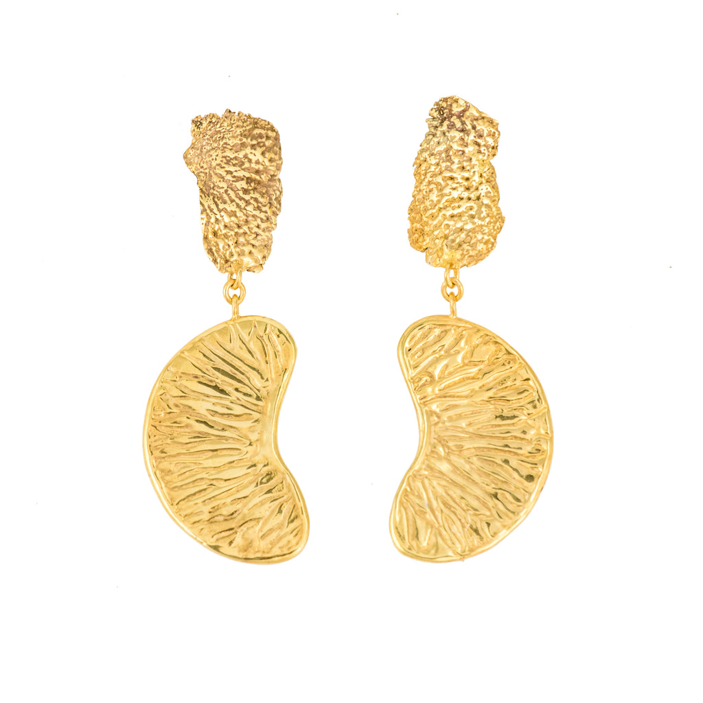 Hanging Orange Segment Earrings, 22kt Gold Vermeil