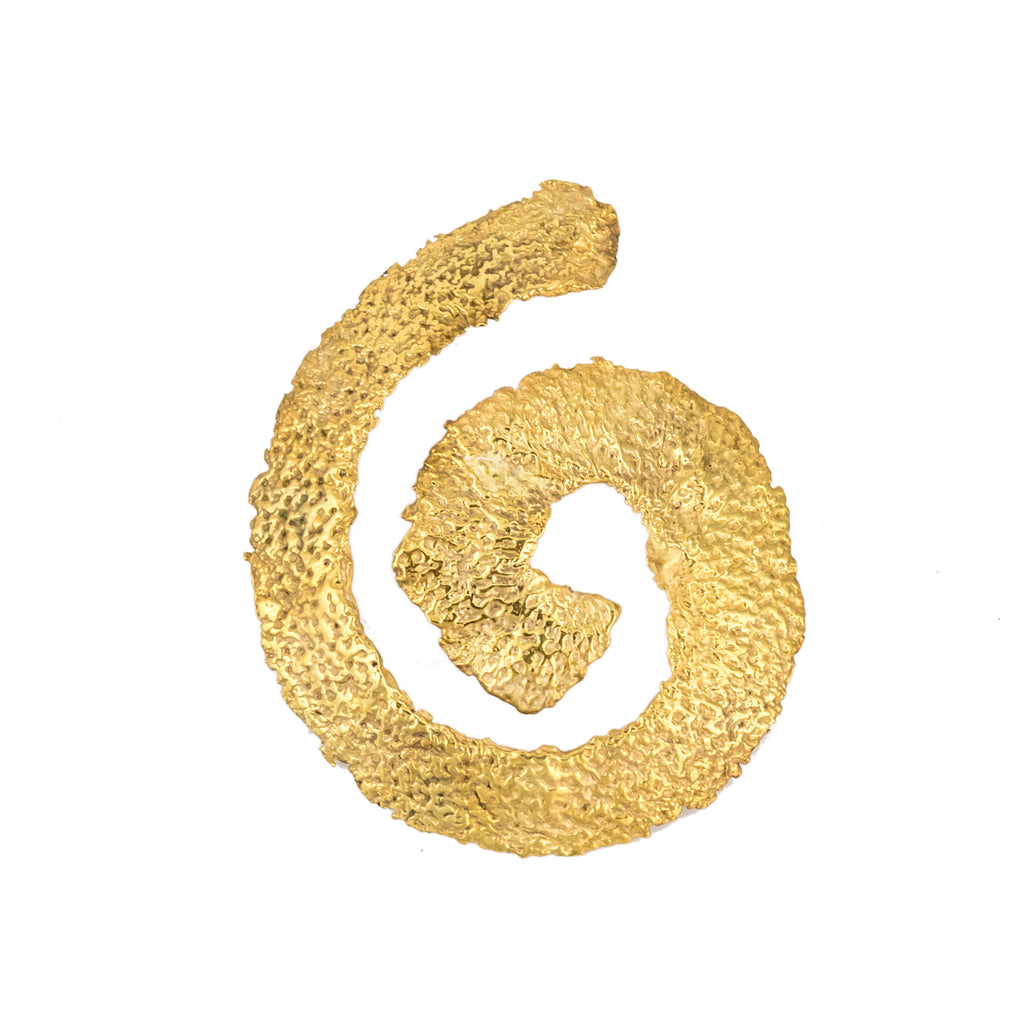 Spiral Orange Peel Hair Piece, 22kt Gold Vermeil