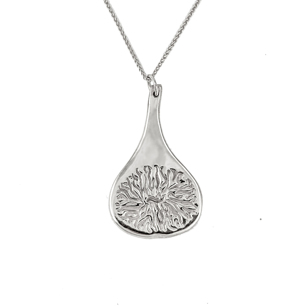 Polished recycled sterling silver fig pendant