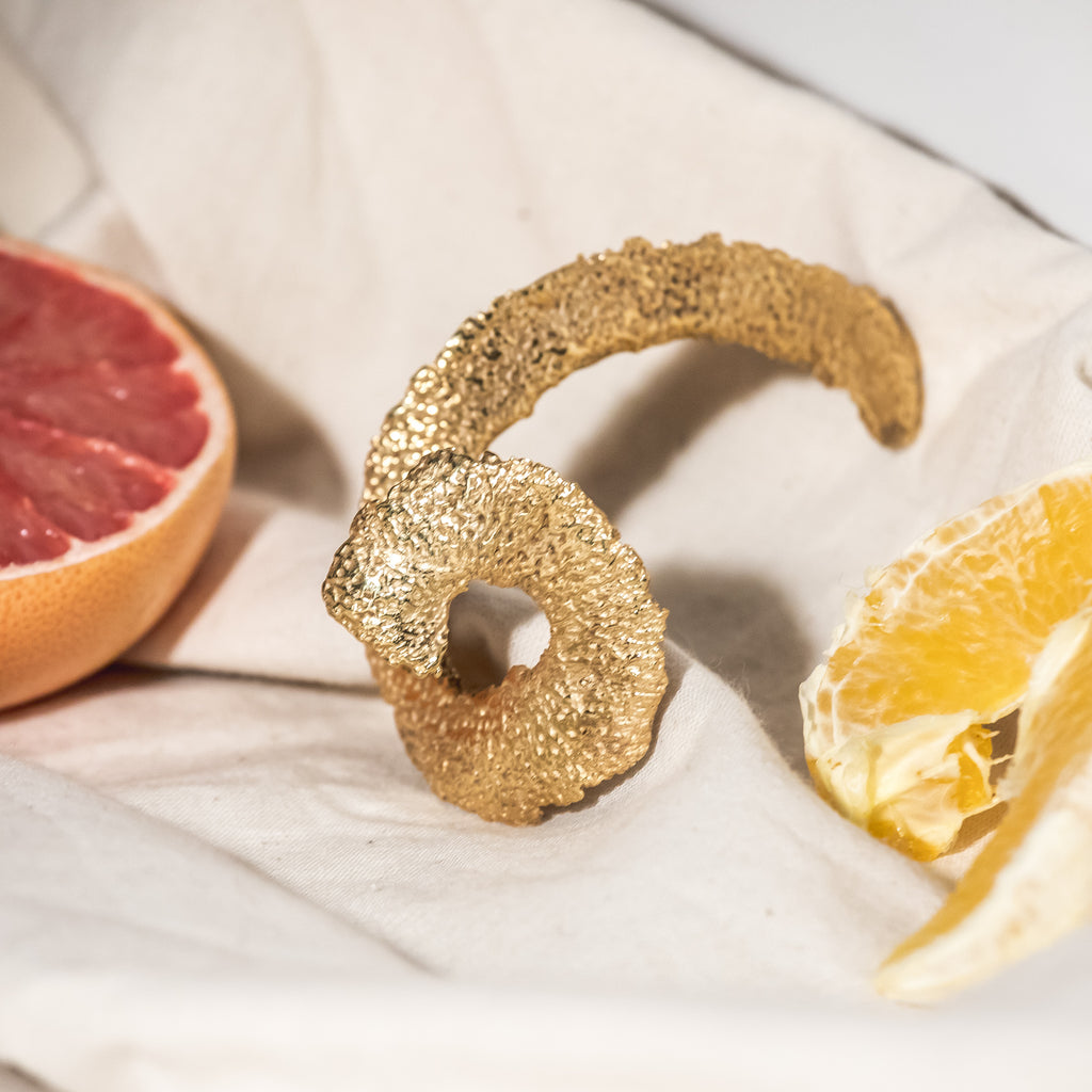 Unravelled Orange Peel Earring, 22kt Gold Vermeil