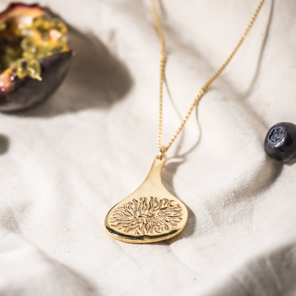 Reversible Fig Slice Pendant (22kt Gold Vermeil)