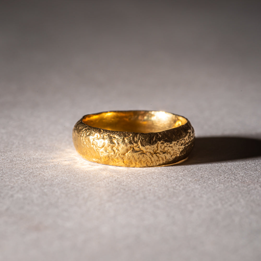 Textured gold wedding band ring