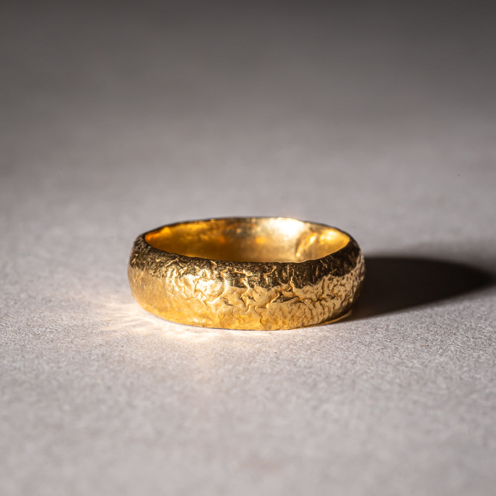 Unique mens yellow gold wedding band