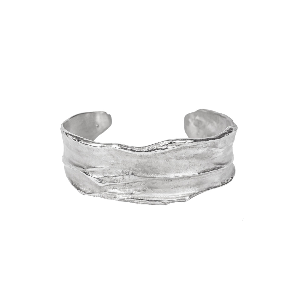 Recycled sterling silver cuff bangle