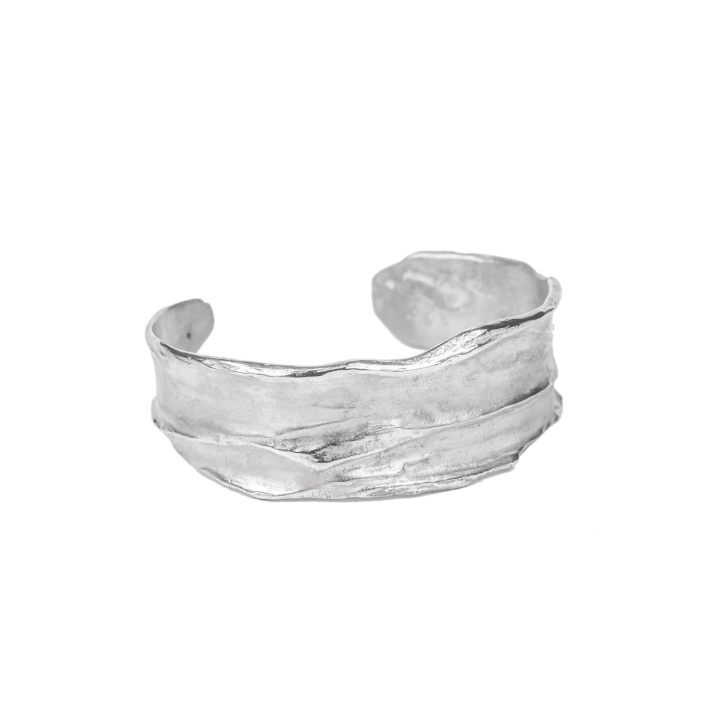 Recycled sterling silver textured cuff bangle