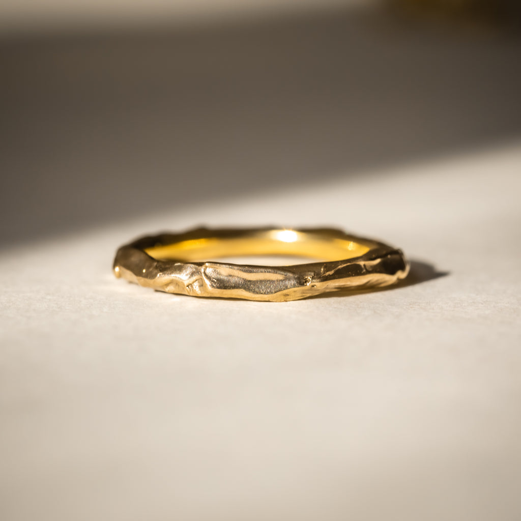 Ethically handcrafted wedding band made with 18ct Fairtrade Gold