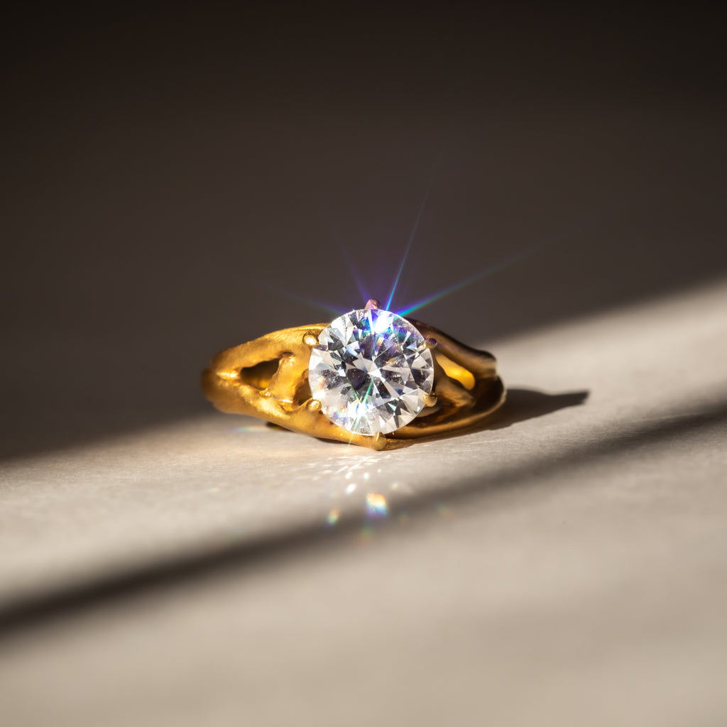 Ethically made 18ct Fairtrade Yellow Gold & Lab Grown Diamond Engagement Ring