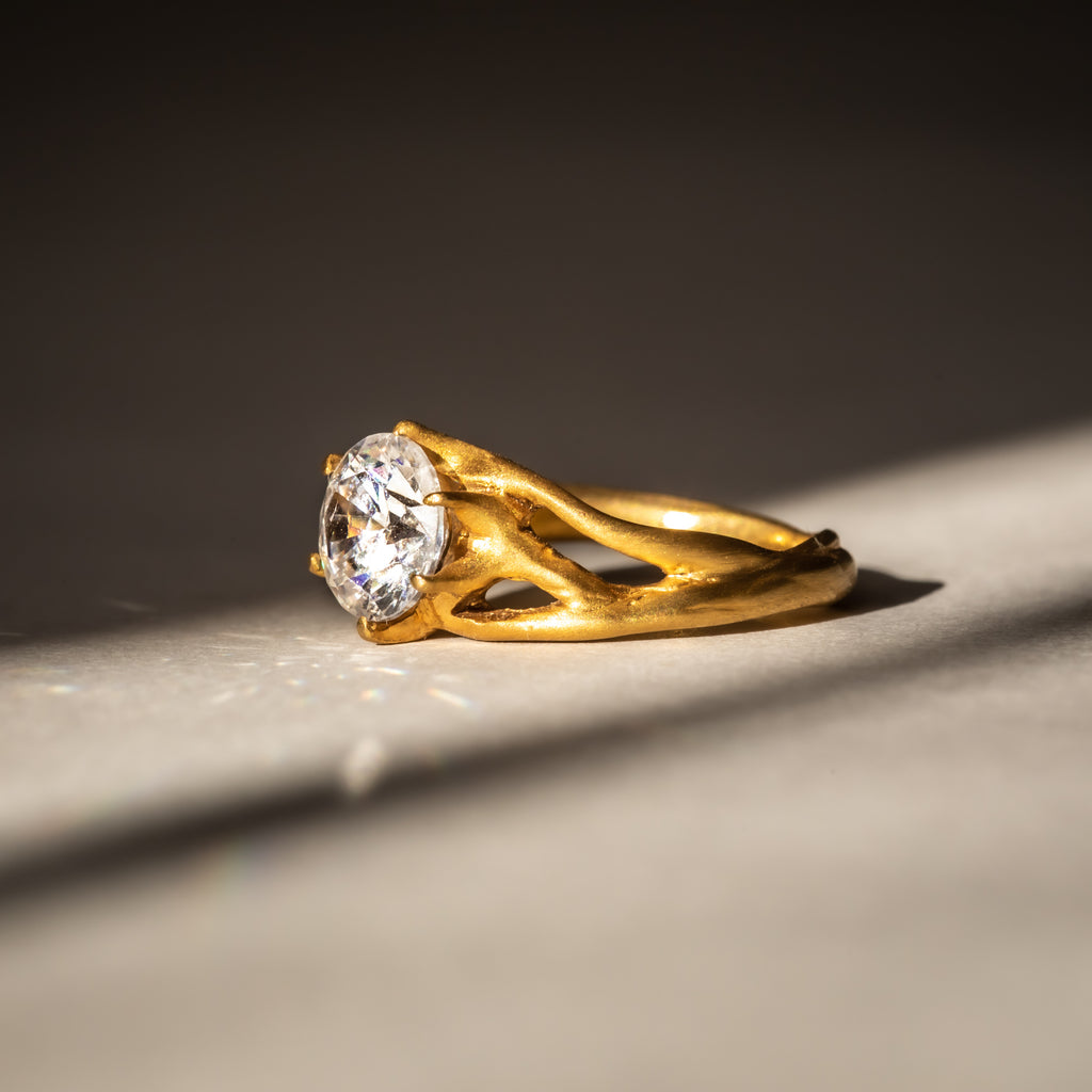Lab grown diamond engagement ring, handcrafted in London