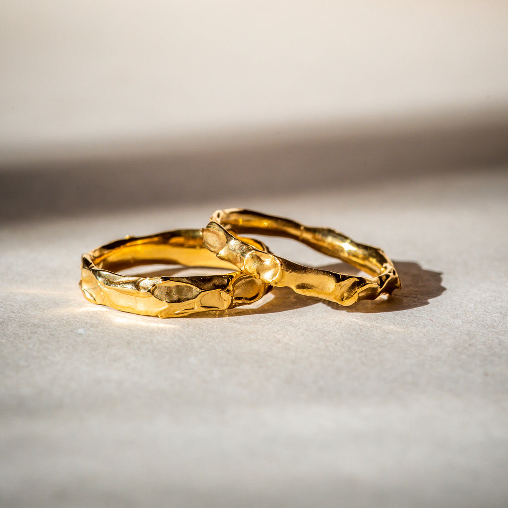 Ethically handcrafted 18ct Fairtrade gold wedding bands