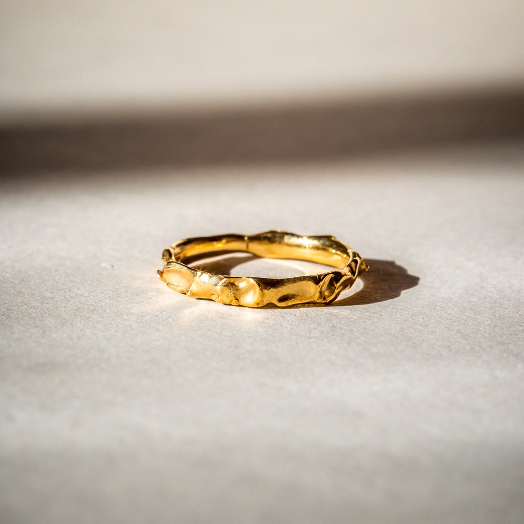 Organic textured 18ct  Fairtrade gold ring