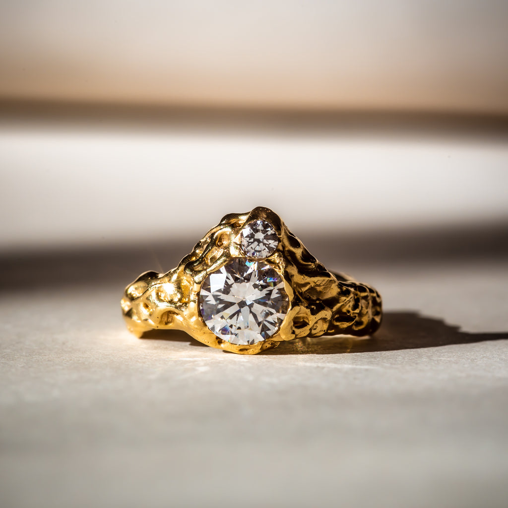 Ethically made engagement ring in 18ct Fairtrade gold and lab grown diamonds