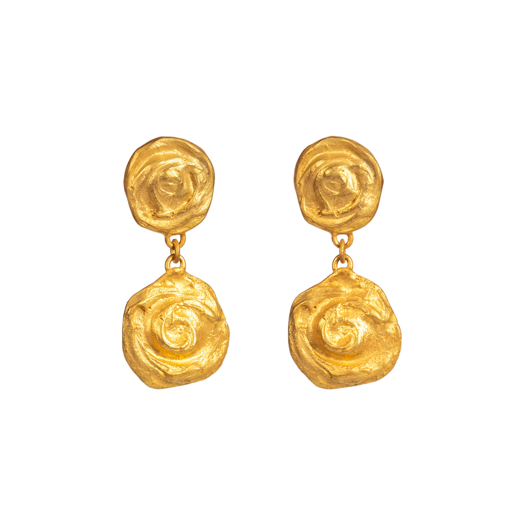 Textured antiquated 18ct yellow gold earrings