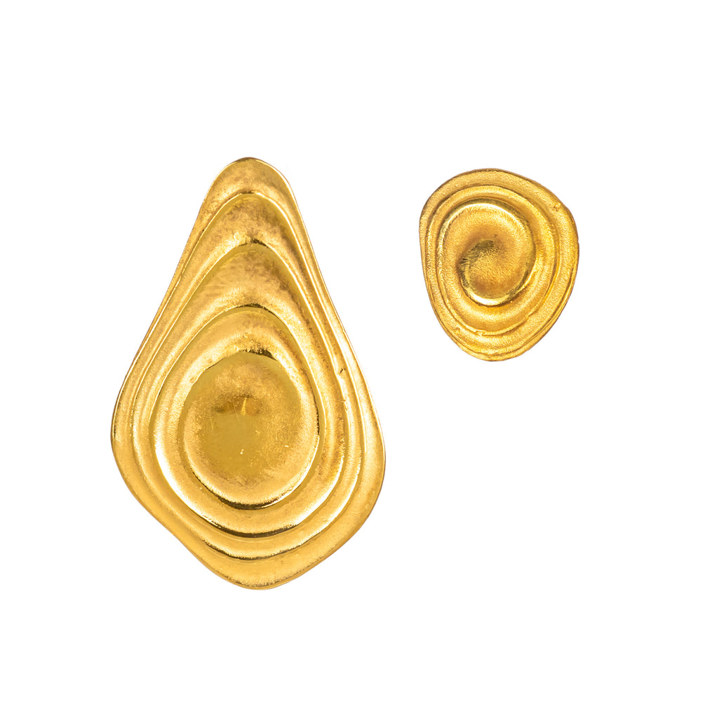 18ct Fairtrade yellow gold earrings with polished gold ripples