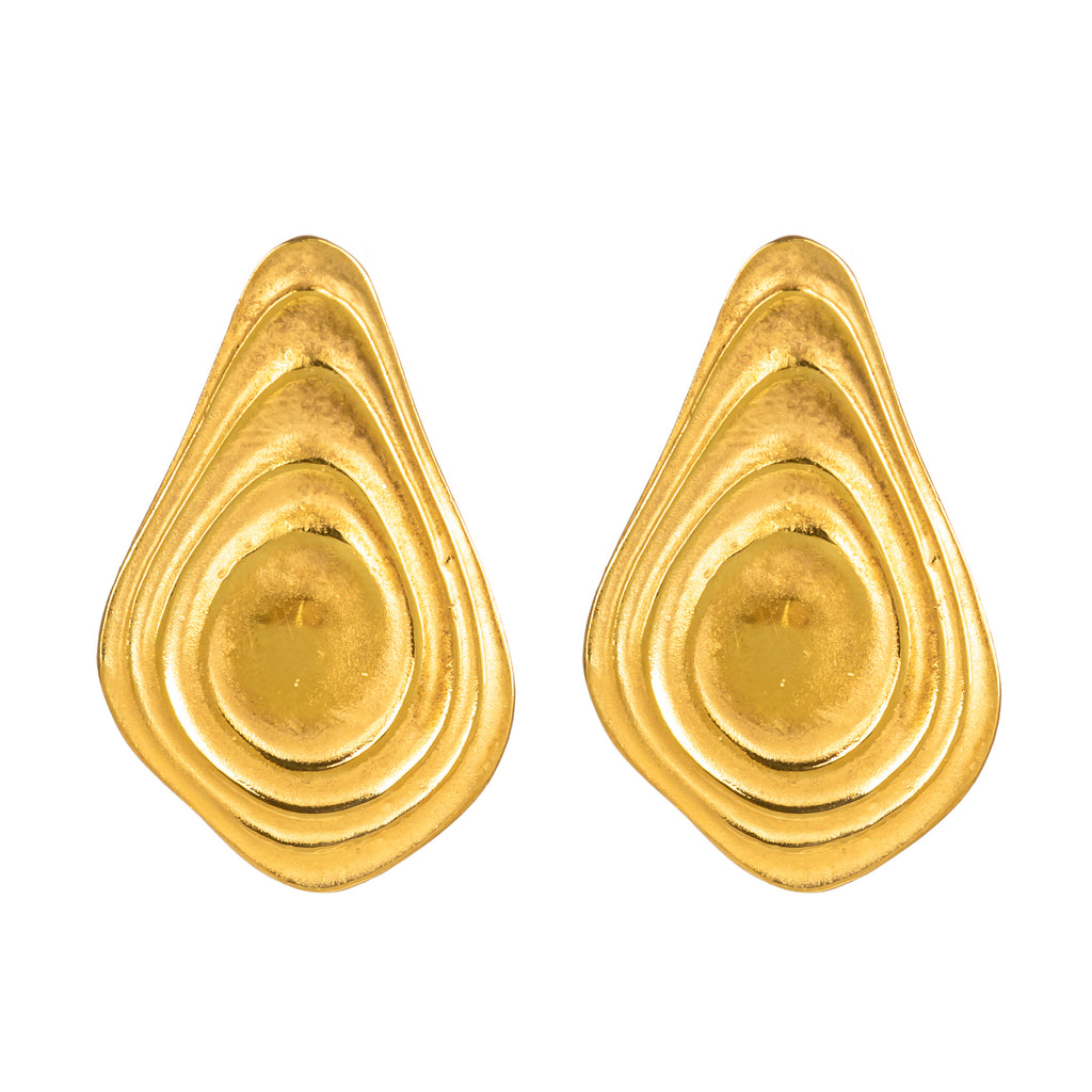 18ct Fairtrade yellow gold earrings with gold ripples