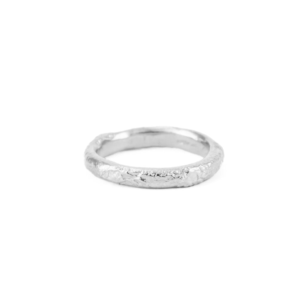 Recycled sterling silver textured wedding band ring