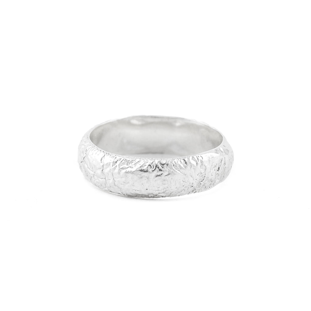 Recycled sterling silver wedding band
