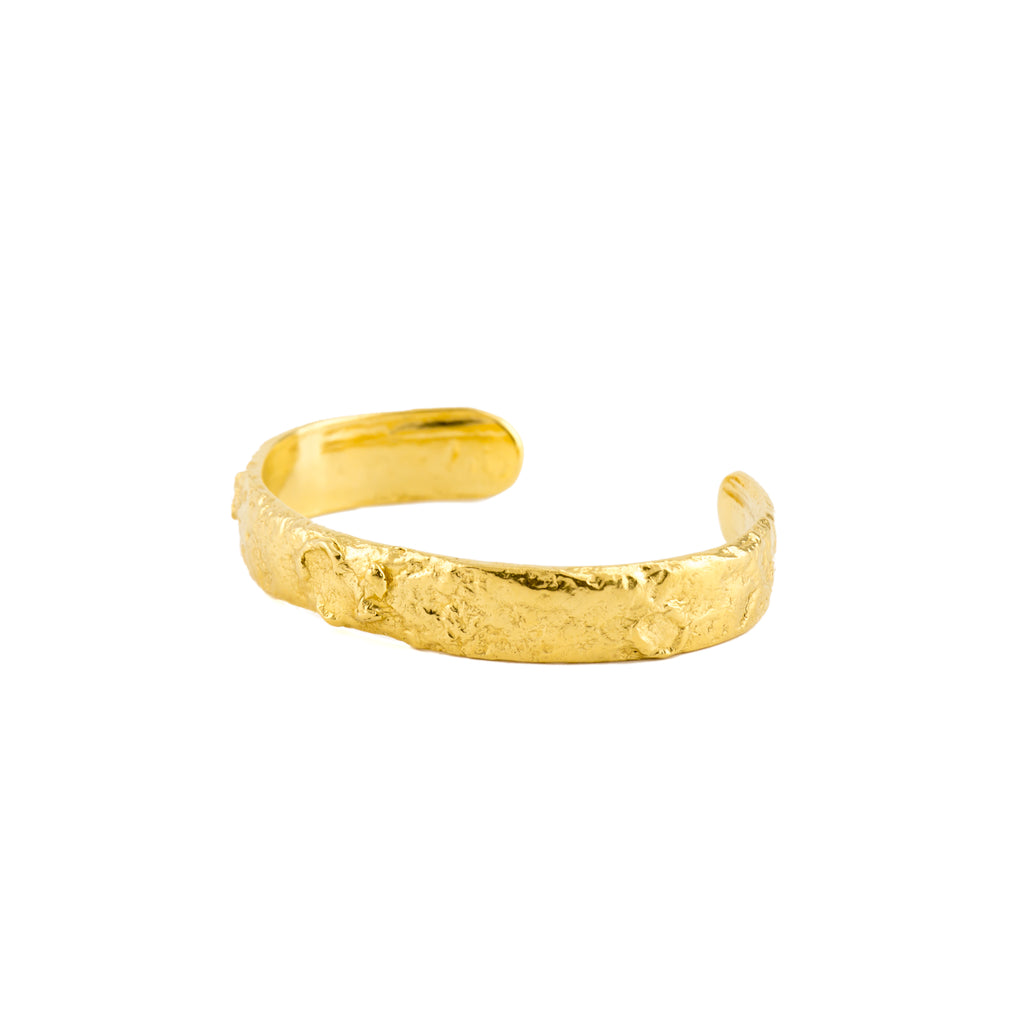 Chunky textured 18ct Fairtrade Gold Bangle