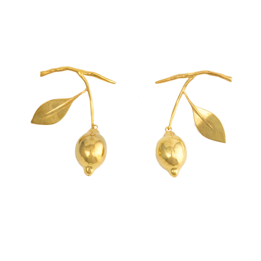 18ct Fairtrade gold hanging lemon earrings