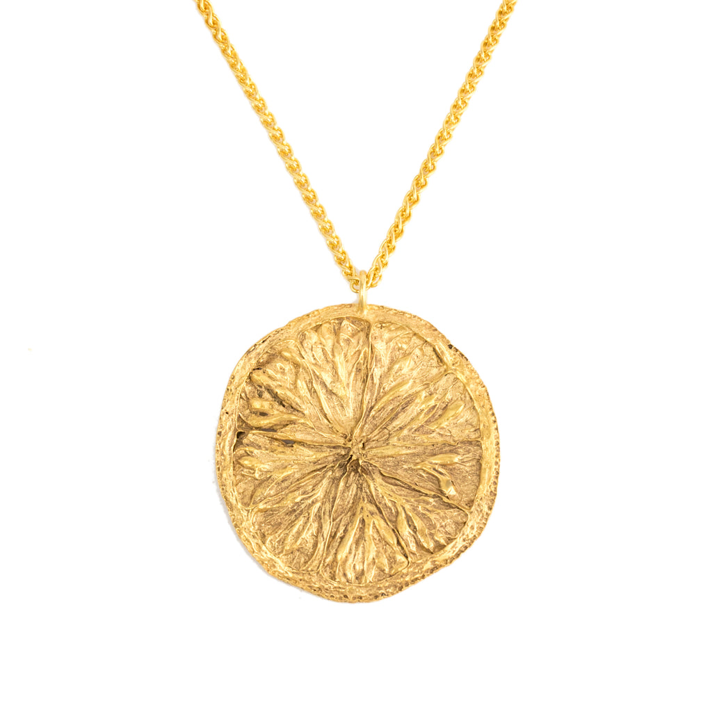 Large orange slice pendant necklace in 18ct Fairtrade yellow gold