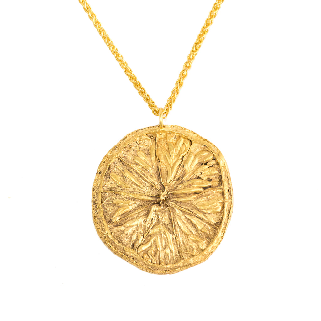 Large orange slice pendant necklace in 18ct Fairtrade yellow gol