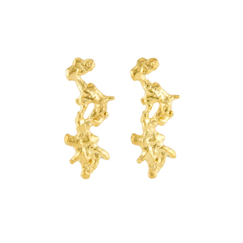 Molten Coral Drop Earrings (22kt Gold Vermeil)
