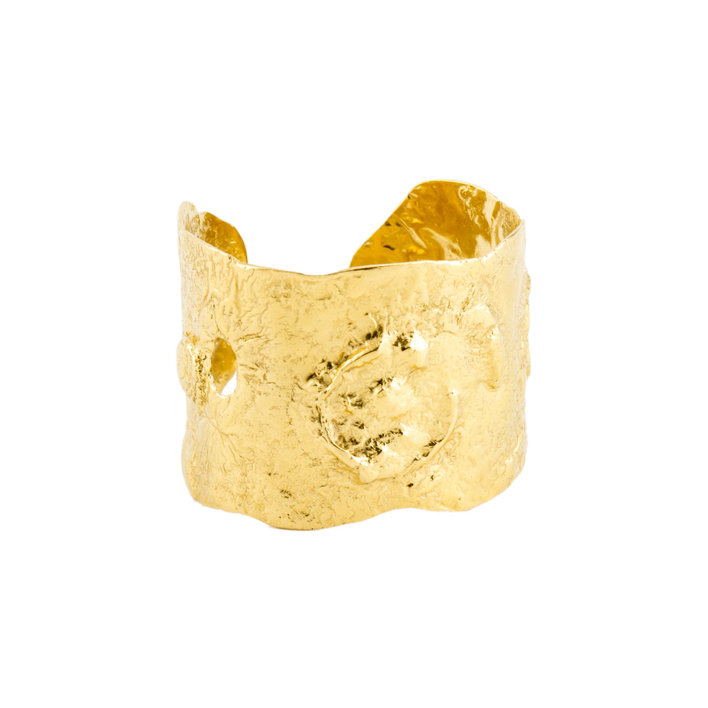 Solid 18ct yellow gold large cuff