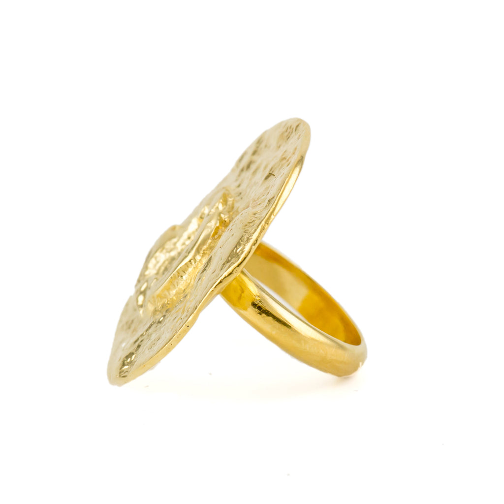 Fairtrade 18ct yellow gold moon ring