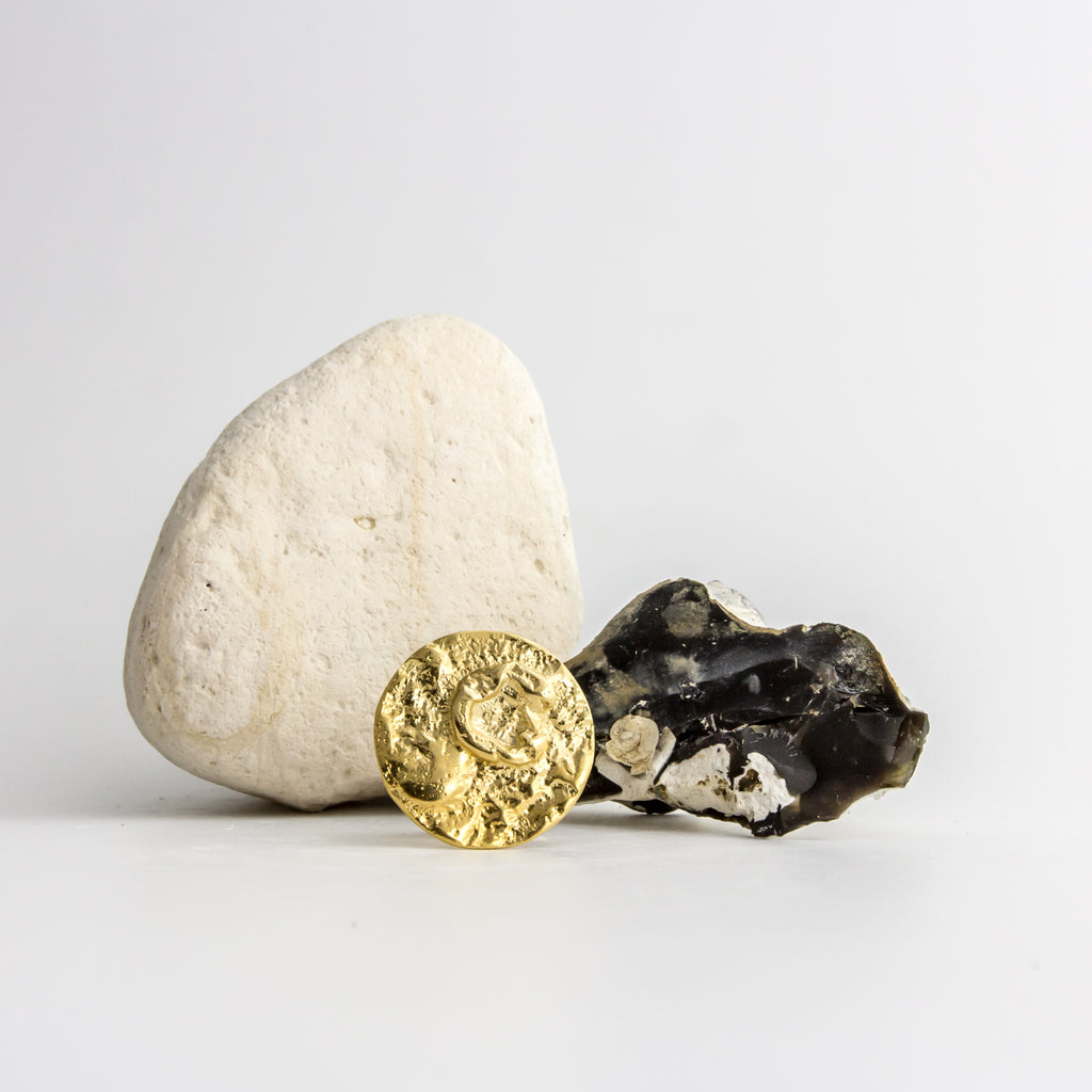 Textured solid gold moon ring