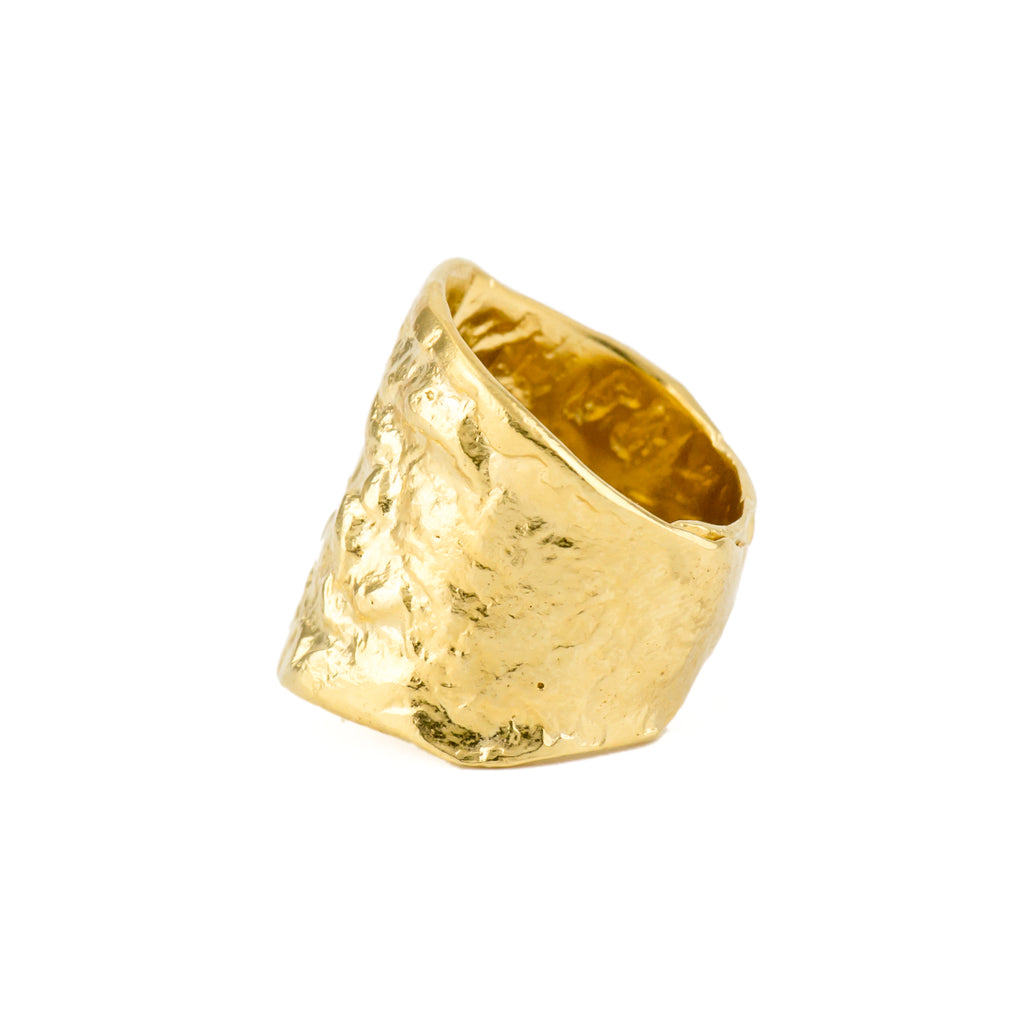 Textured fairtrade gold ring