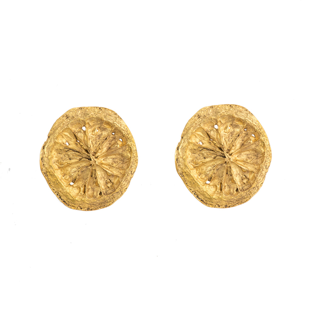 Small Lemon Slice Earrings, 22kt Gold Vermeil