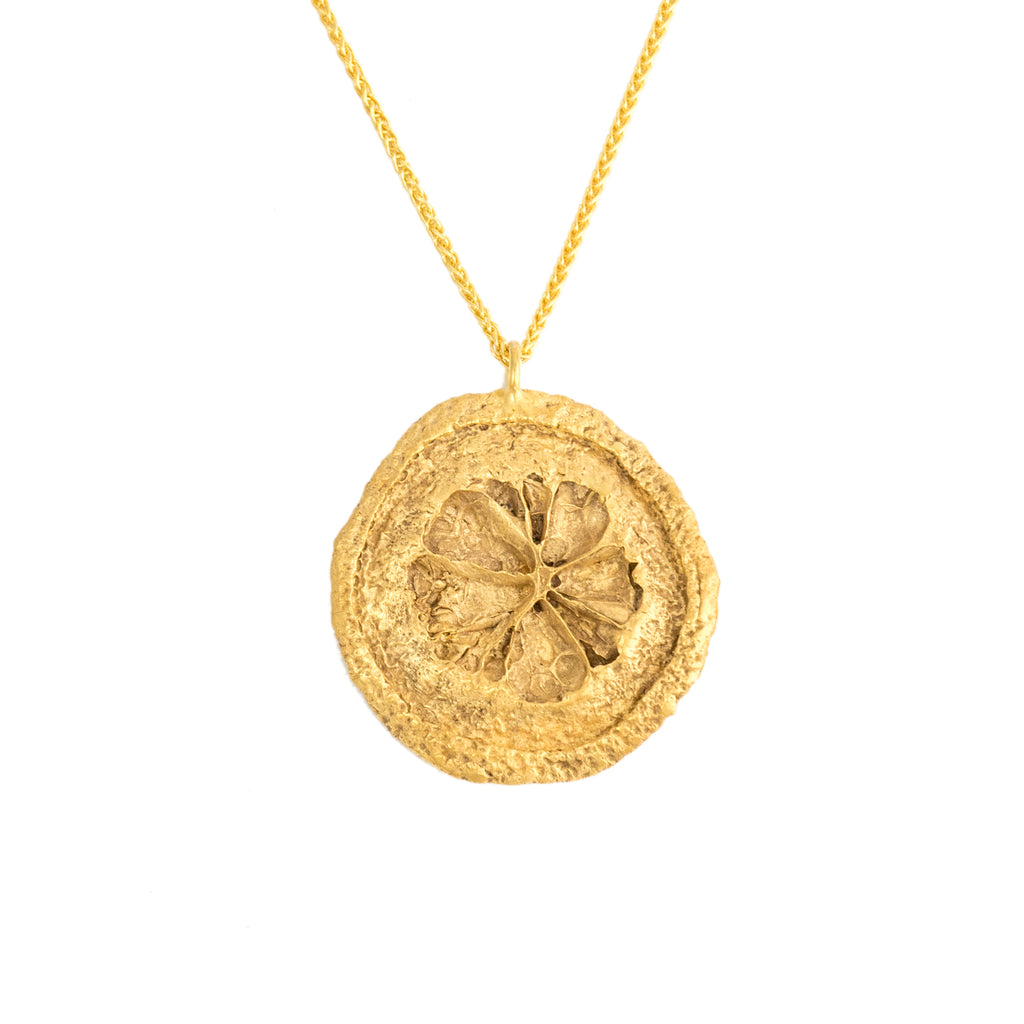 Small Lemon Slice Pendant, 22kt Gold Vermeil