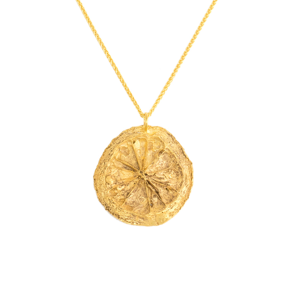 Quirky lemon slice pendant, 18ct Fairtrade yellow gold