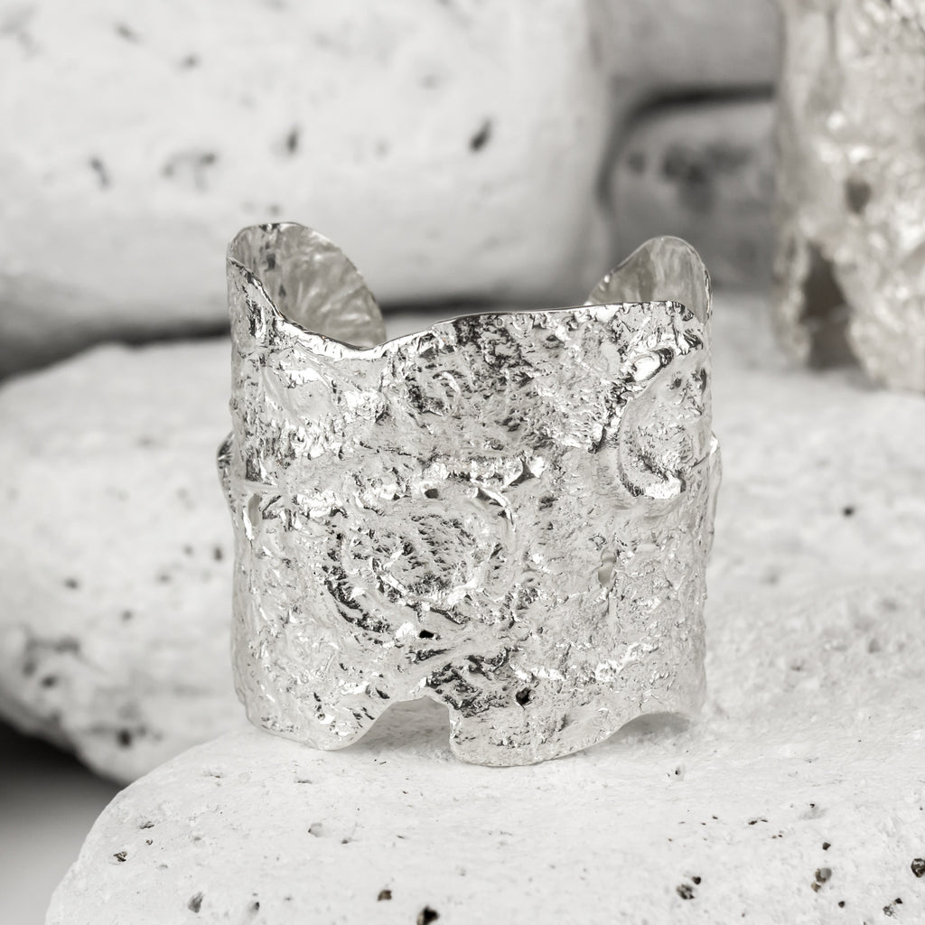 Textured ethically made recycled sterling silver cuff