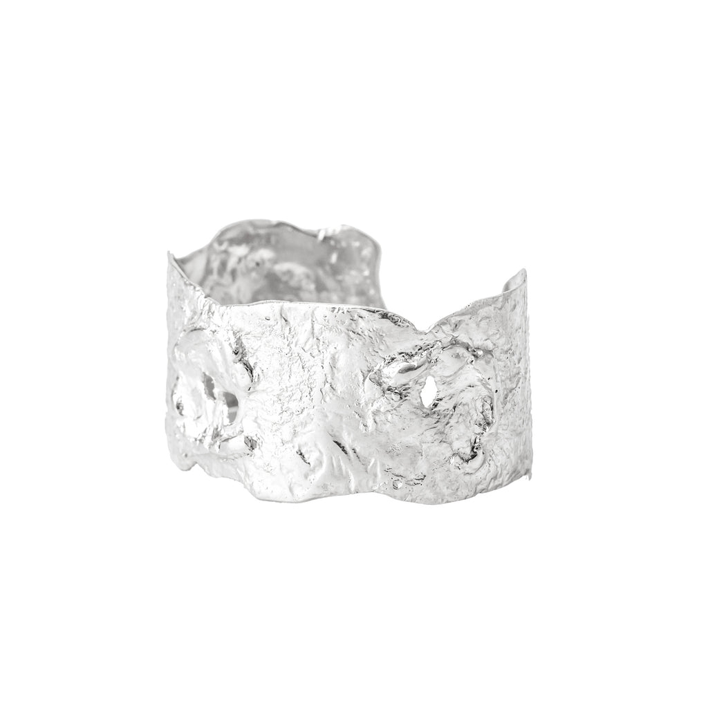 Textured chunky sterling silver cuff
