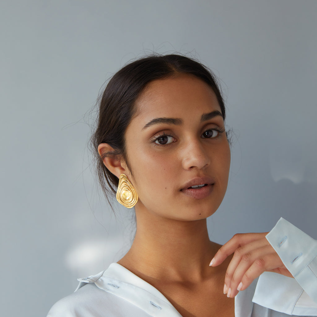 The Long Ripple Earrings (22ct Gold Vermeil) Pascale James Jewellery