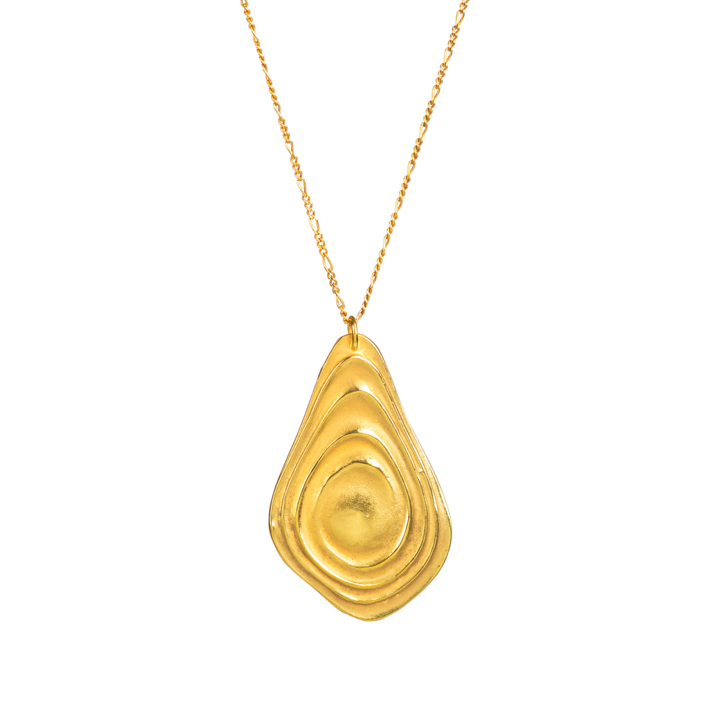 18ct Fairtrade yellow gold pendant with polished gold ripples