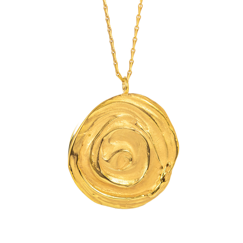18ct Fairtrade yellow gold large swirl pendant necklace
