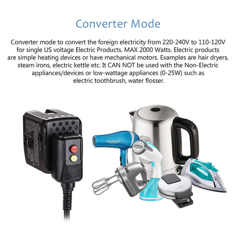 2000W 220V to 110V Power Converter Step Down Voltage for US Electric Products Like Hair Dryer, Steam Iron, Laptop - World Travel Plug Adapter w/2 USB US to Europe, UK, Italy, Asia Over 150 Countries