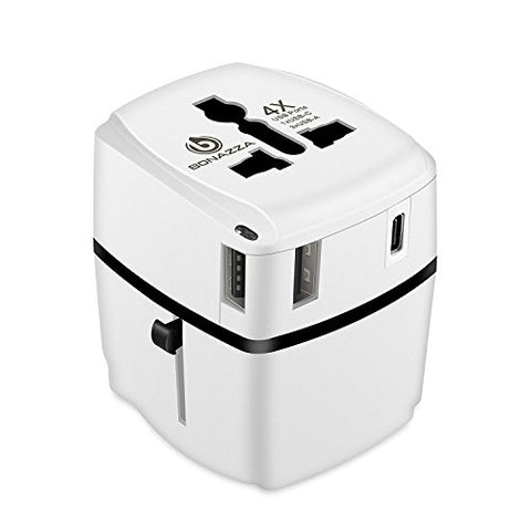 All in ONE Universal Plug Power Adapter with 4 Fast Charging USB Ports - International Travel US to UK, Europe, AUS, Italy, China Compatible with Sockets Over 150 Countries [UL Test Pass]
