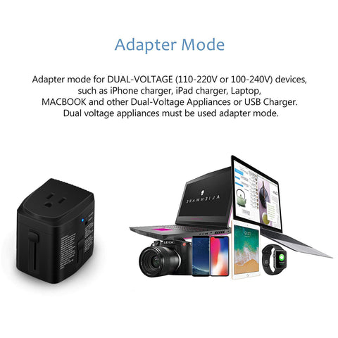 All in ONE World Travel Plug Power Adapter 2000 Watts Voltage Converter Step Down 220V to 110V for Hair Dryer Steam Iron Laptop MacBook Cell Phone - US to UK AU Europe Over 150 Countries