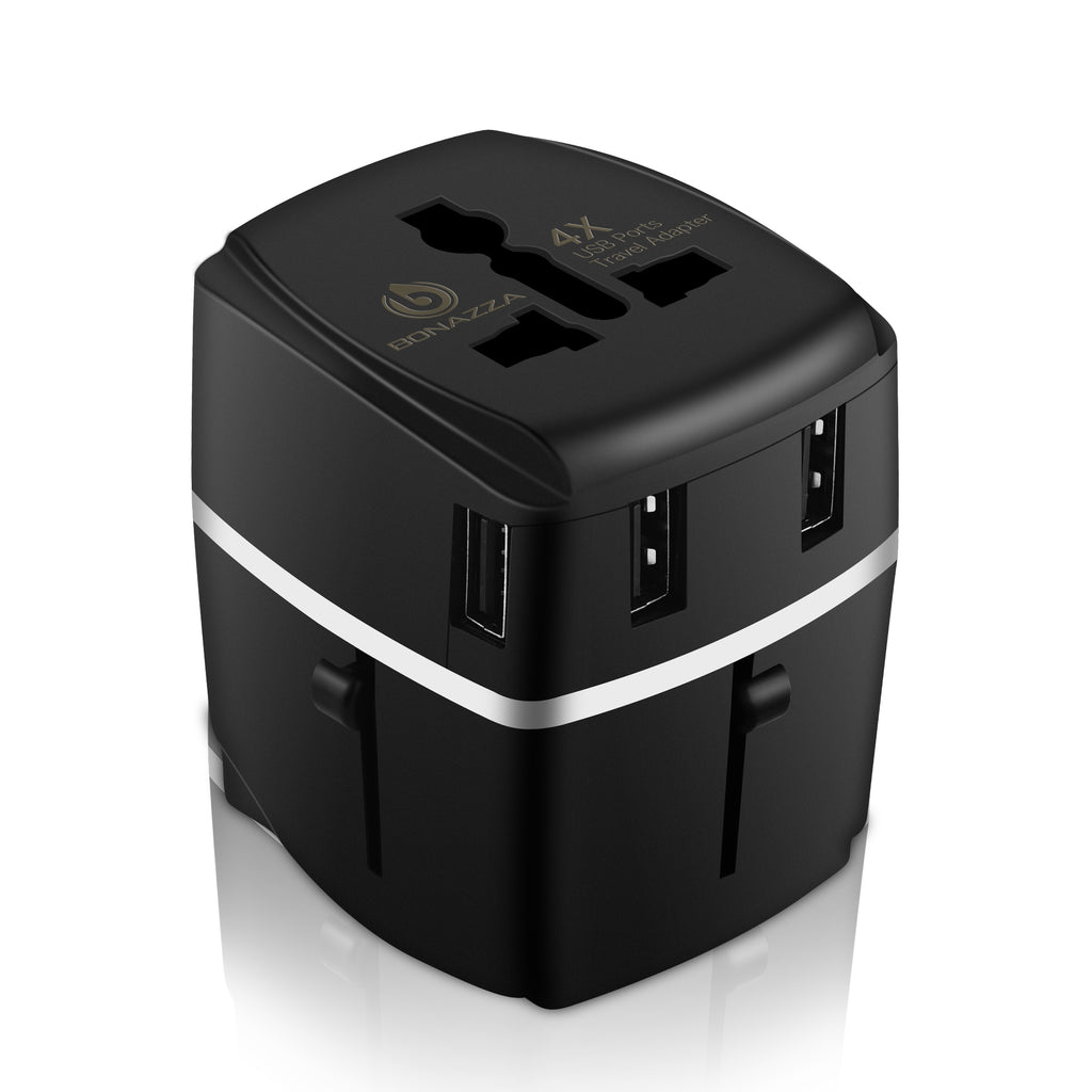 a33664d5e4964 Bonazza Universal International Travel Adapter Kit with 4Amps 4 USB Ports -  UK, US, AU, Europe All in One Plug Adapter - Over 150 Countries & USB ...