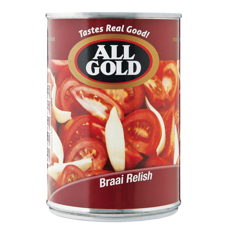 All Gold Braai Relish, tomato relish, tomatoe relish, South African sauces and pickles. All Gold Tomato & Onion Braai Relish