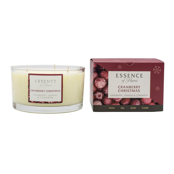 Essence of Harris soy wax 3 wick glass candle in clear glass with red cranberry christmas box
